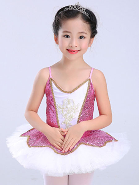 Milanoo Ballet Dress Red Sequin Tutu Ballerina Dresses Girls Ballet Dance Costume