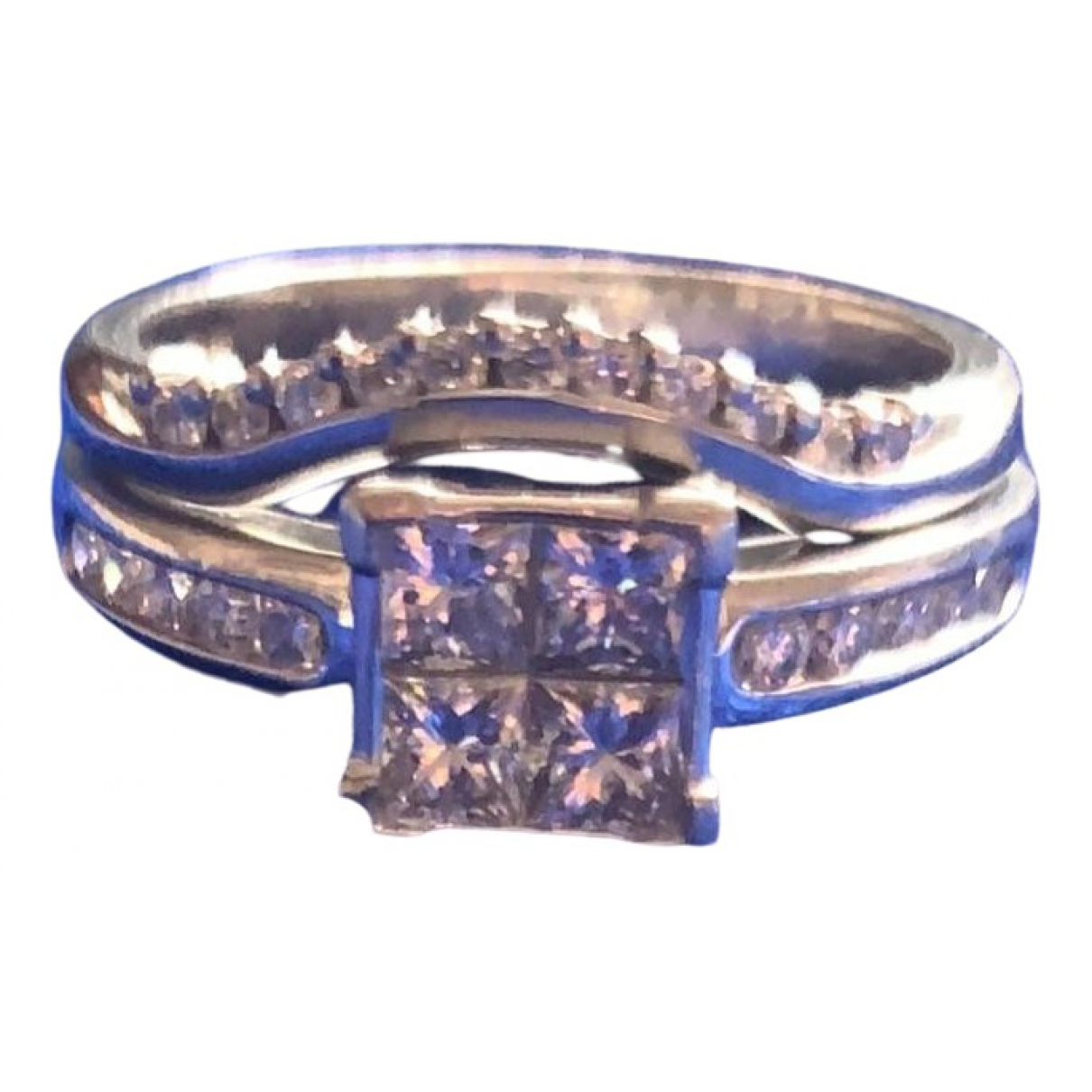 Non Signe / Unsigned Solitaire Ring in  Weiss Platin