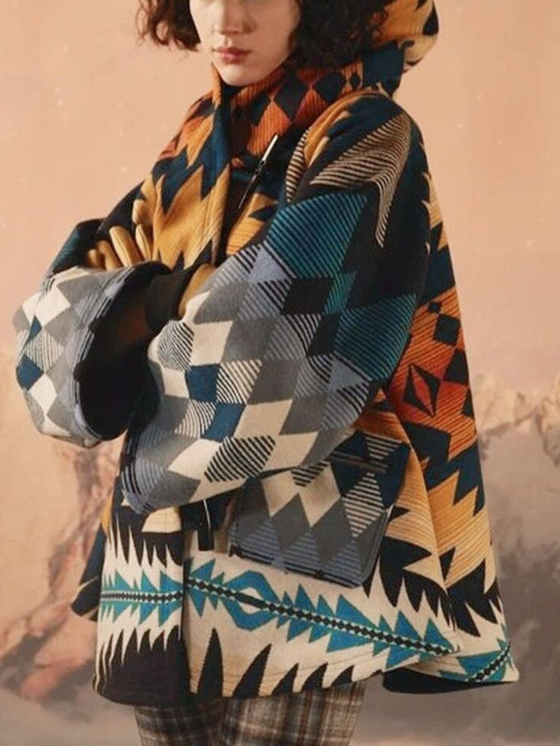 Ericdress Loose Horn Button Print Winter Mid-Length Overcoat