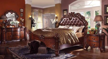 Vendome Collection 21997EK5PCSET Eastern King Size Bed + Dresser + Mirror + Chest + Nightstand in Cherry