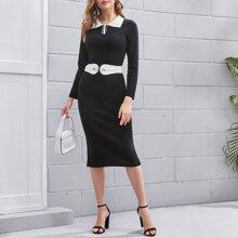 Pullover Kleid mit Knoten vorn und Polo Kragen