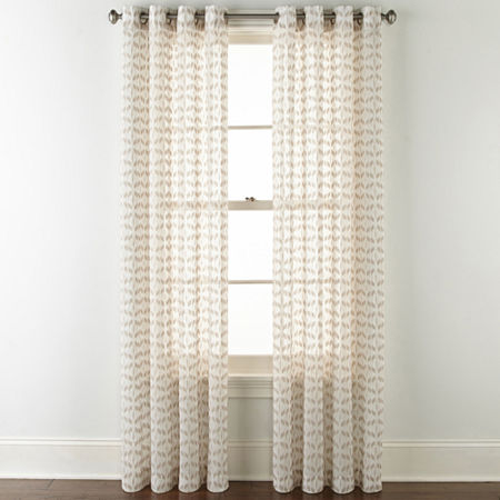 JCPenney Home Rockford Sheer Grommet-Top Single Curtain Panel, One Size , Brown