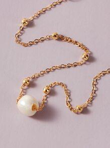1pc Faux Pearl Decor Necklace