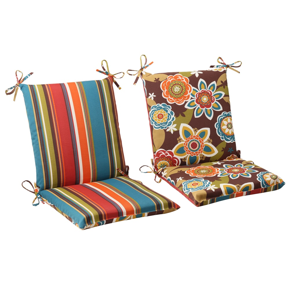 Pillow Perfect Outdoor Annie Reversible Chair Cushion (Westport Reversible Squared Chair Cushion in Chocolate Chocolate)