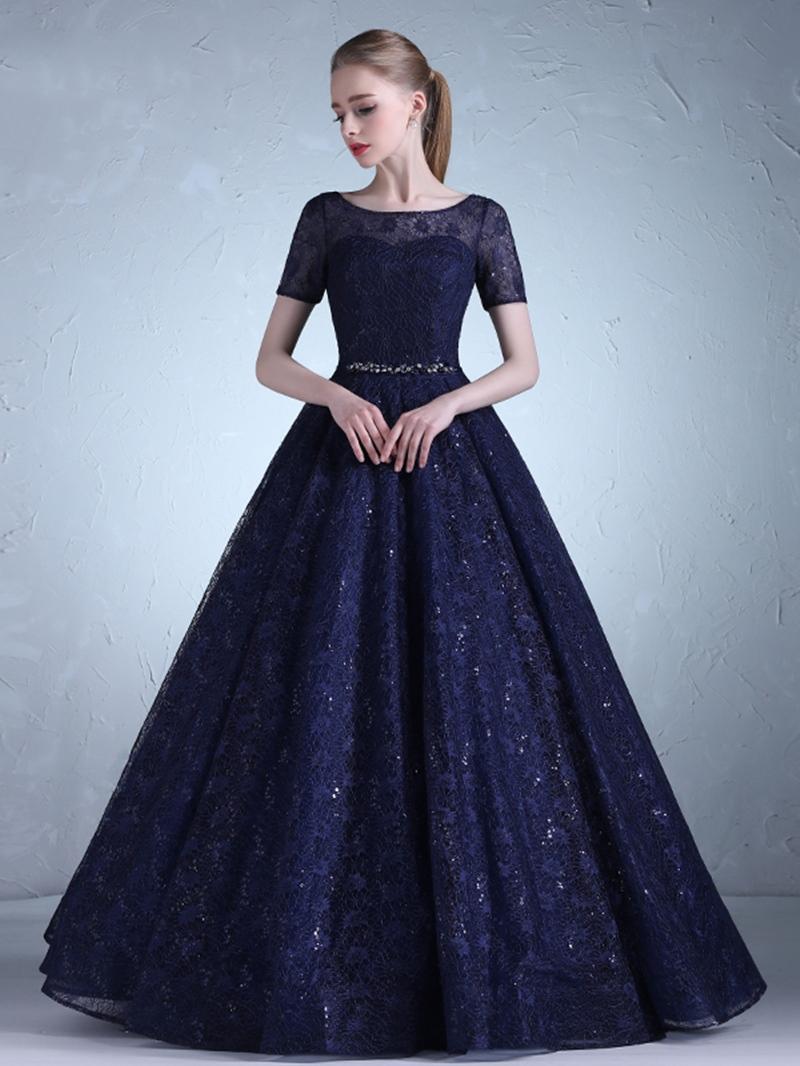 Ericdress Short Sleeve Beaded Lace Sequins Evening Dress