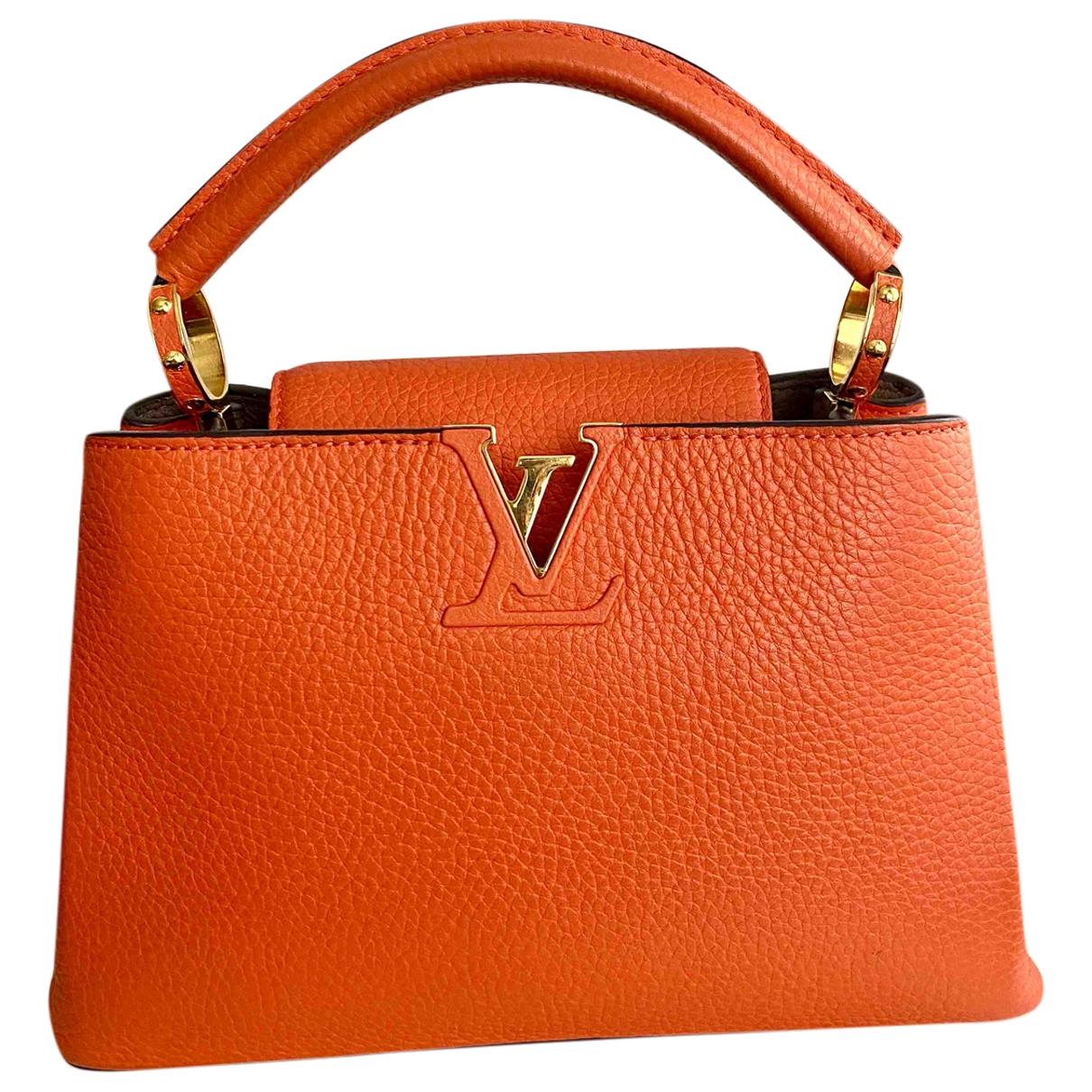 Louis Vuitton Capucines Handtasche in  Orange Leder