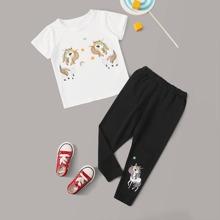 Camiseta de niñitas con estampado de unicornio con pantalones