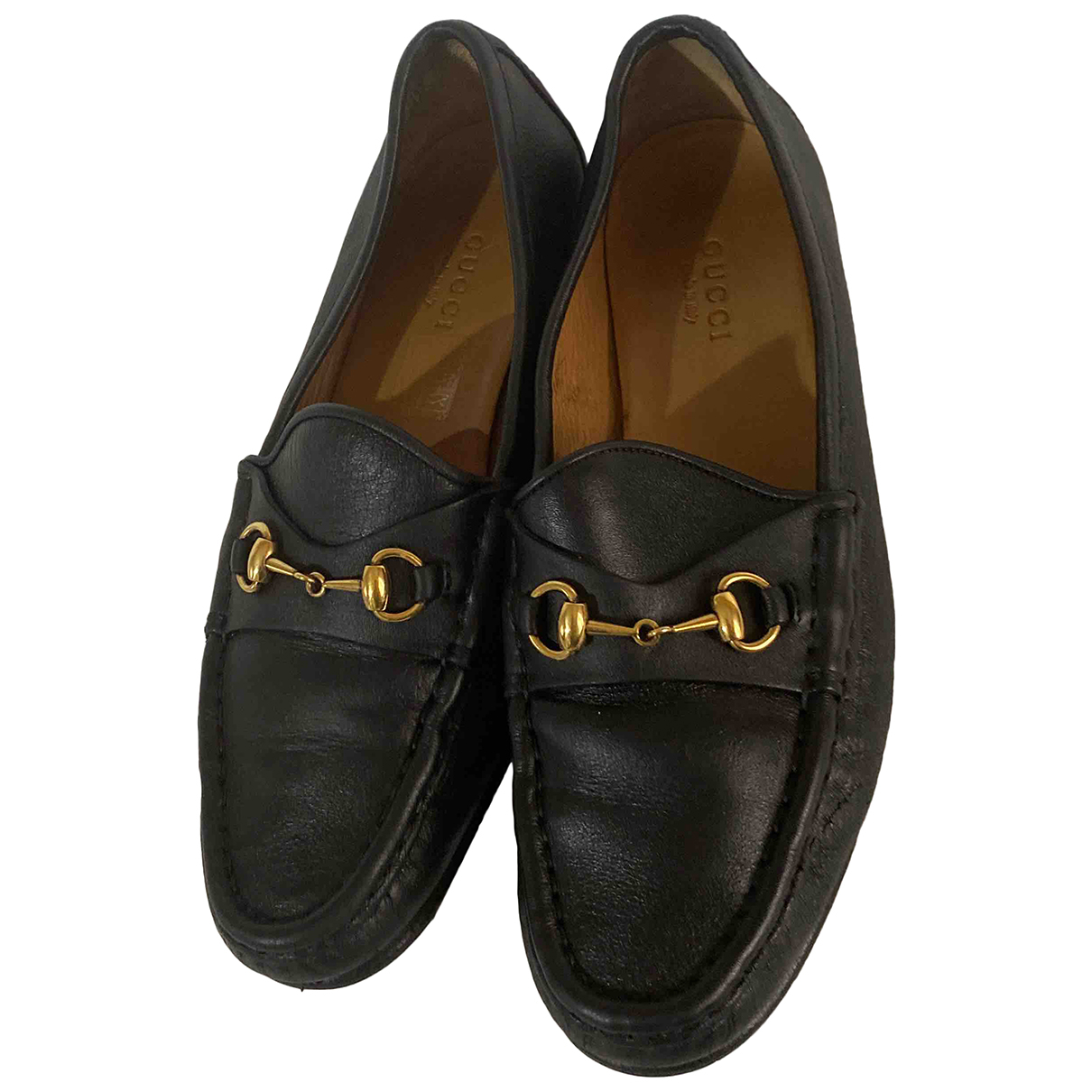 Gucci N Black Leather Flats for Women 36 EU