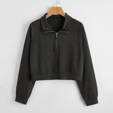 Half Zip Raglan Sleeve Sweatshirt
