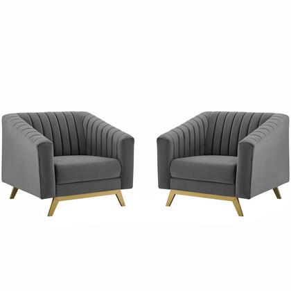 Valiant Collection EEI-4142-GRY Vertical Channel Tufted Upholstered Performance Velvet Armchair Set of 2 in Gray