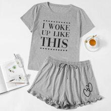 Schlafanzug Set mit Buchstaben und Stern Muster