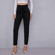 Hose mit Band vorn und Papiertasche Taille