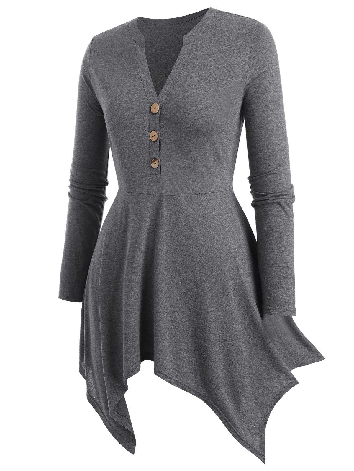 Plus Size Button Asymmetric Long Sleeve T Shirt