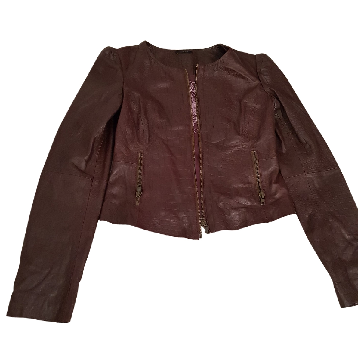 Ikks - Blouson   pour femme en cuir - bordeaux