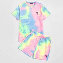 Guys Tie Dye Tropical Embroidered Top & Shorts Set