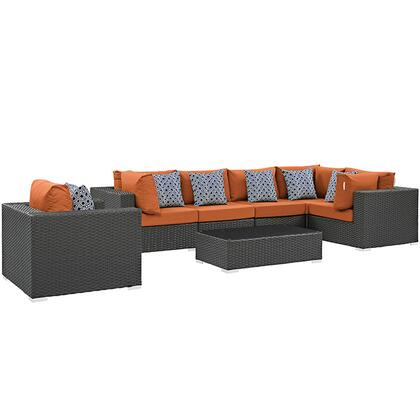 Sojourn Collection EEI-2374-CHC-TUS-SET 7-Piece Outdoor Patio Sunbrella Sectional Set with Armchair  Coffee Table  3 Corner Sections and 3 Armless