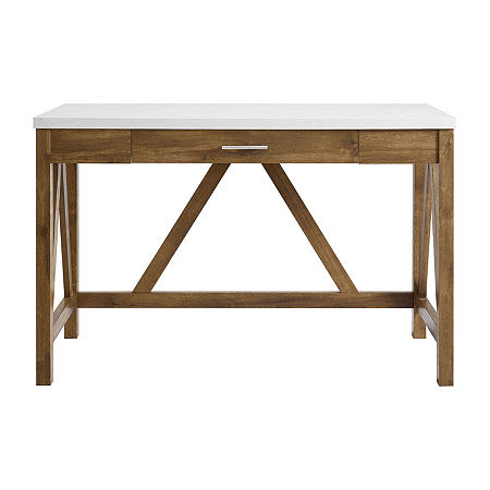 Farmhouse Rustic Wood Computer Desk, One Size , Gray
