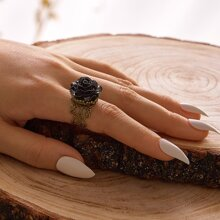 1pc Flower Decor Hollow Out Cuff Ring