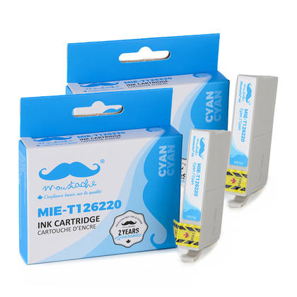 Compatible Epson T126220 T1262 Cyan Ink Cartridge High Yield - Moustache@- 2/Pack