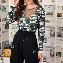 T-Shirt mit Netzeinsatz und Camo Muster