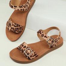 Sandalias con tira tobillera de punta abierta con doble banda de leopardo