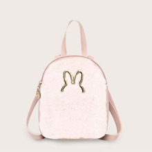 Contrast Faux Fur Fluffy Backpack