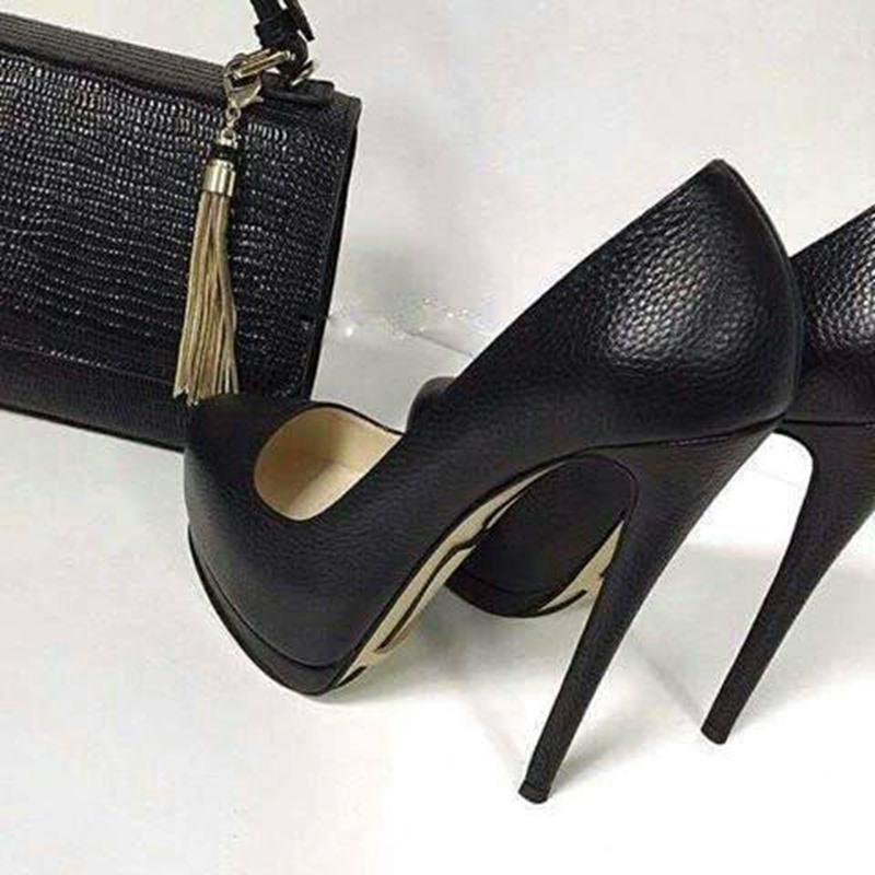 Ericdress Plain PU Pointed Toe Stiletto Heel Pumps