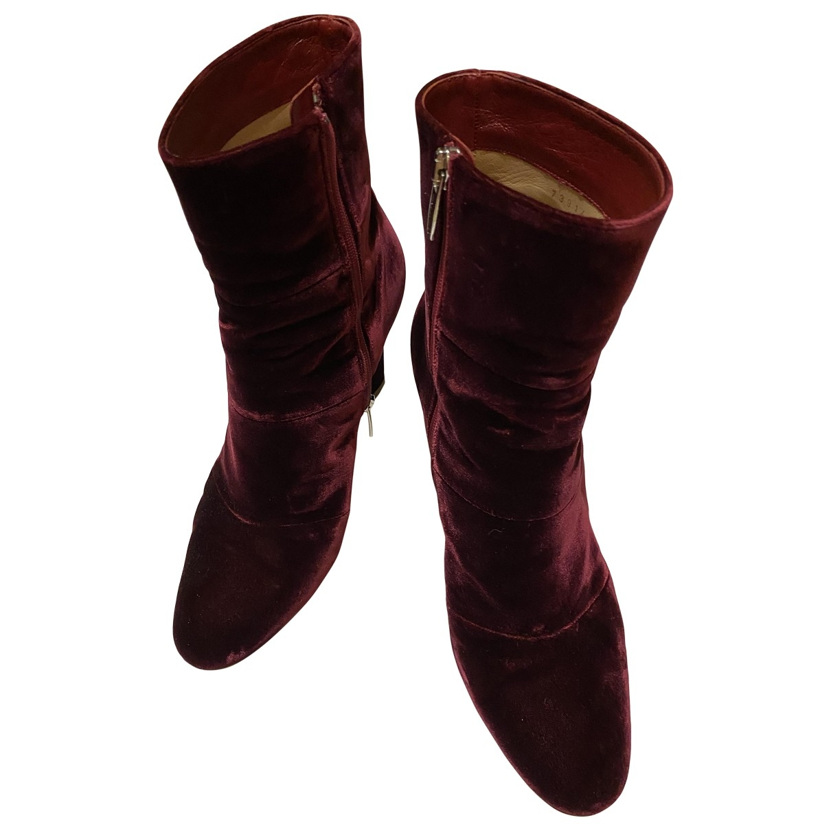 Sergio Rossi - Boots   pour femme en velours - bordeaux