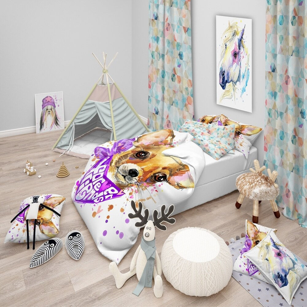 Designart 'Cute Puppy Dog with Neck Shawl' Modern & Contemporary Bedding Set - Duvet Cover & Shams (3 Piece - Full/Queen Cover +2 Shams (comforter
