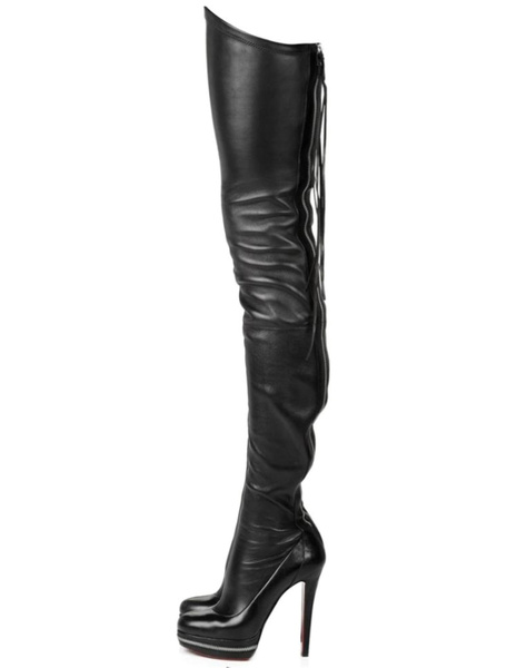 Milanoo Thigh High Boots High Heel Women's Black PU Leather back zipper Sexy boots over the knee Party Shoes