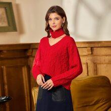 Strick Pullover mit Stufensaum und Schalkragen