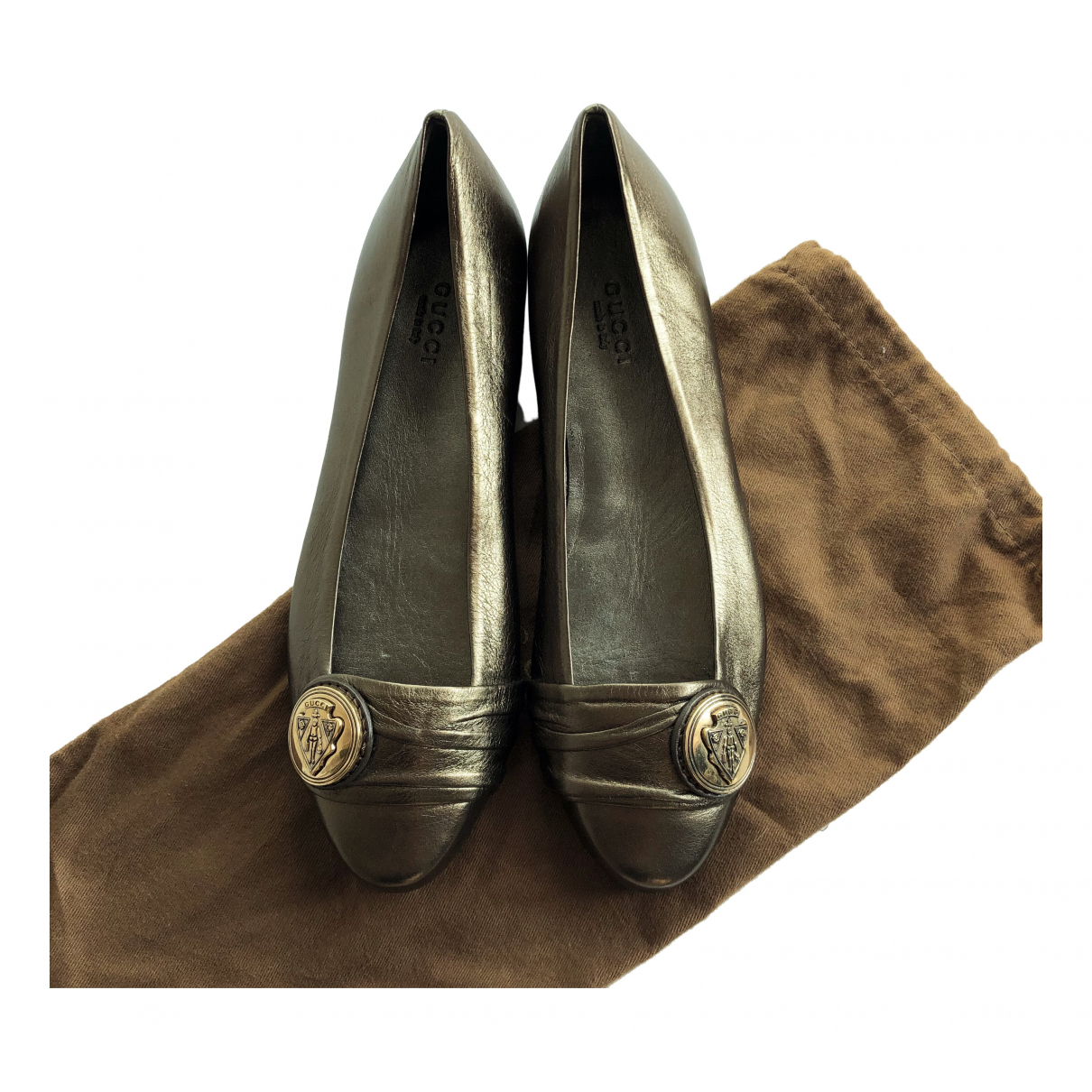 Gucci N Metallic Leather Ballet flats for Women 36 EU