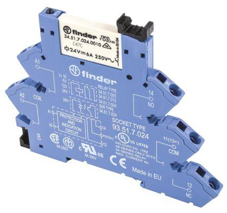 Finder , 230V ac/dc SPNO Interface Relay Module, Screw Terminal , DIN Rail