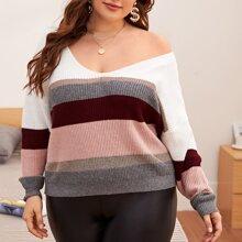 Pullover mit V-Kragen, Kontrast Einsatz und sehr tief angesetzter Schulterpartie