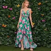 Kleid mit Raffung, Riemen, Blumen Muster, seitlichen Knoten und Wickel Design