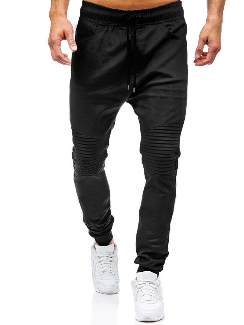 Ericdress Plain Harem Pleated Casual Men's Lace-Up Jeans