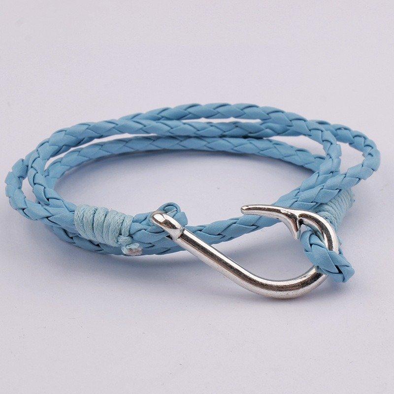 Multi-layer Winding Bracelet Fish Hook Men Leather Rope Bracelet Alloy Decoration Bracelet
