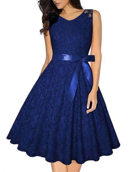 Milanoo Lace Vintage Dress 1950s Jewel Neck Sleeveless Woman Swing Dress