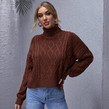 High Neck Drop Shoulder Textured Sweater