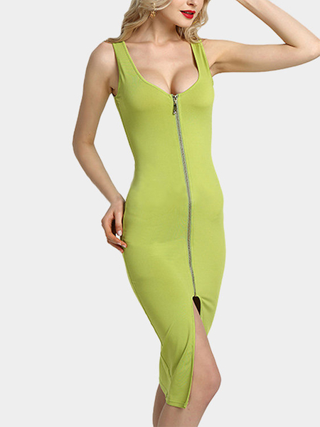 Yoins Green Fashion Round Neck Zip Front Bodycon Cami Dress