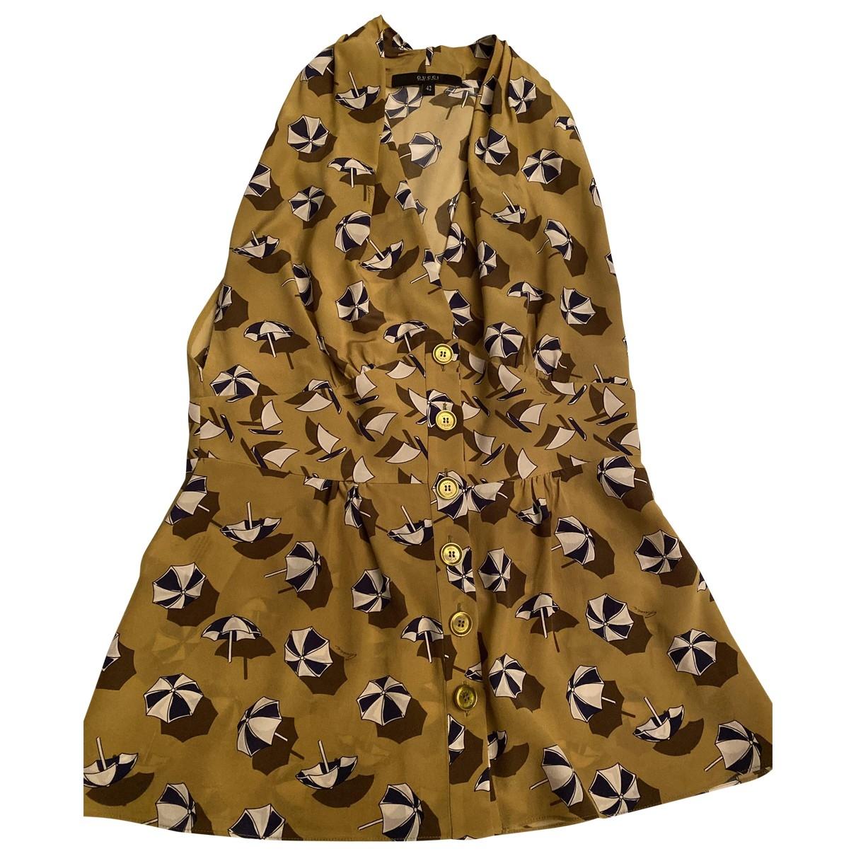 Gucci - Top   pour femme en soie - kaki