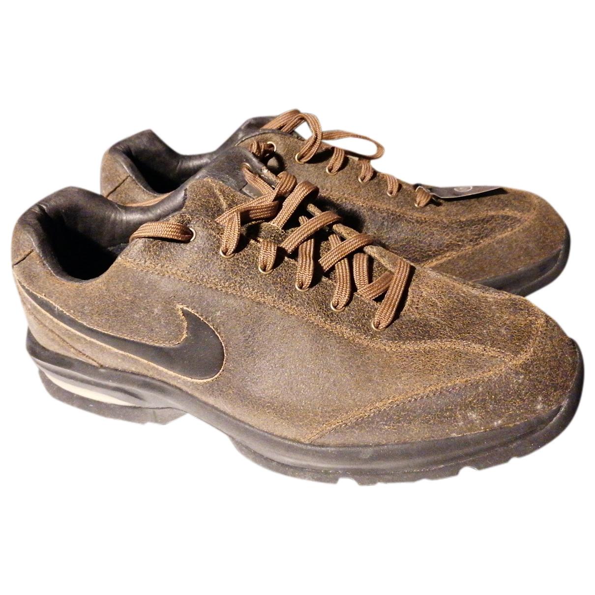 Nike - Baskets   pour homme en cuir - marron