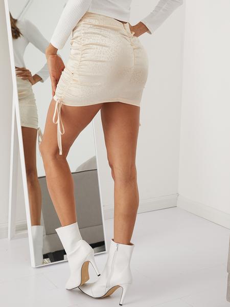 YOINS Drawstring Satin Mini Skirt