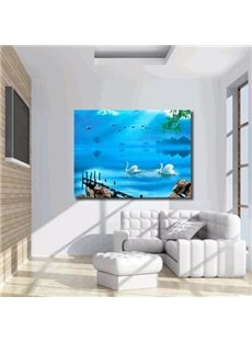 16×24in Swans in Blue Lake Hanging Canvas Waterproof and Eco-friendly Framed Prints