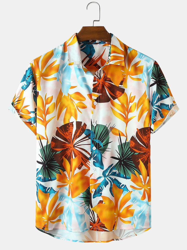 Mens Tropical & Floral Print Holiday Casual Light Short Sleeve Shirts