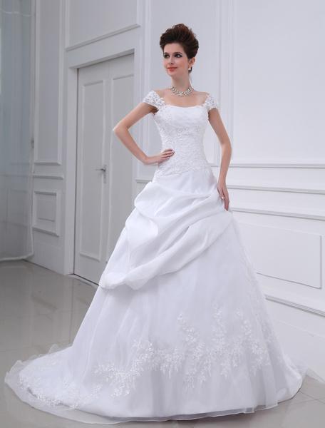 Milanoo Vestido de novia blanco fuera del hombro vestido de novia de encaje con cuentas lentejuelas acanalado vestido de novia de la cintura con tren