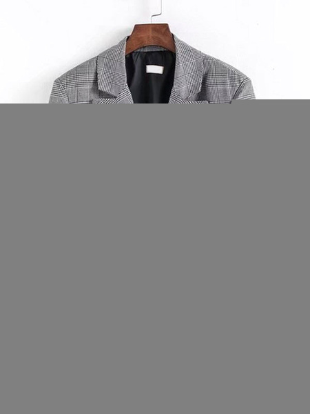 Milanoo Blazer para mujer Moda cuello vuelto manga larga frontal dividida Blazers a cuadros