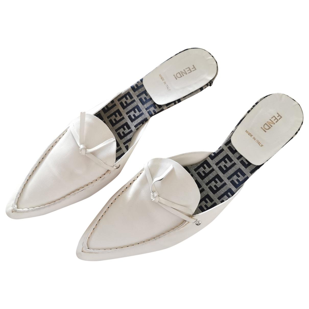 Fendi \N White Leather Mules & Clogs for Women 40 EU