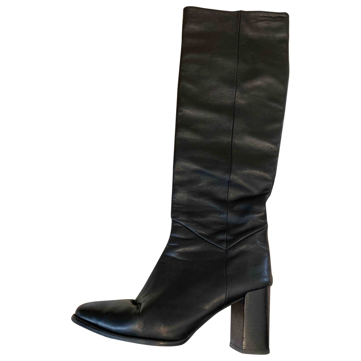 Massimo Dutti - Bottes   pour femme en cuir - noir
