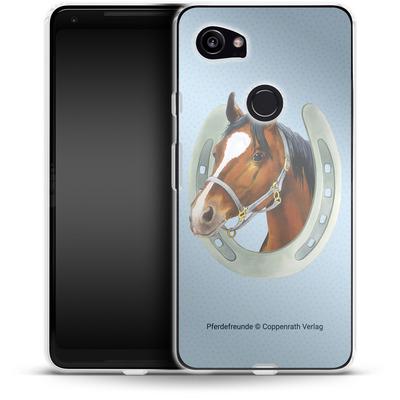 Google Pixel 2 XL Silikon Handyhuelle - Pferdefreunde Hufeisen Blau von Pferdefreunde